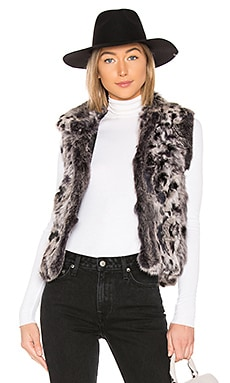 Animal Printed Fur Vest Adrienne Landau $178