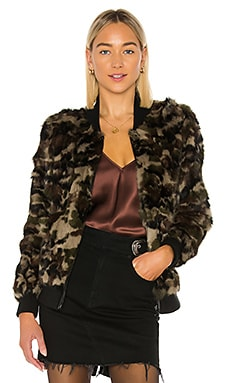 Rabbit Fur Camo Varsity Jacket Adrienne Landau $134