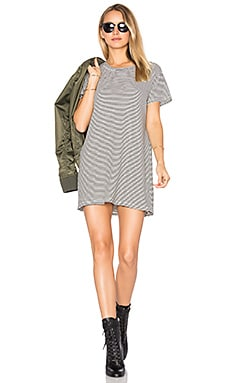 Everyday Tee Dress in Cream & Black Stripe