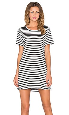 A Fine Line Everday Tee Dress in Rib Stripe