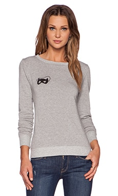 A Fine Line Wolf Mask Sweatshirt in Heather Grey