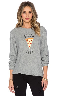 A Fine Line Pizza Life Ex-Boyfriend Sweatshirt in Heather Grey