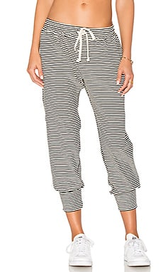 Varsity Stripe Pant in White & Black