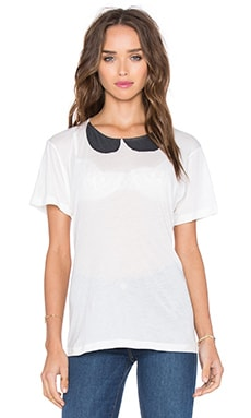 Collar Tee in White & Washed Black