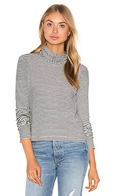 Lucy Turtleneck Tee in Cream & Black Stripe
