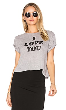 Brothers 'I Love You Sometimes' Cropped Tee en Gris Chiné