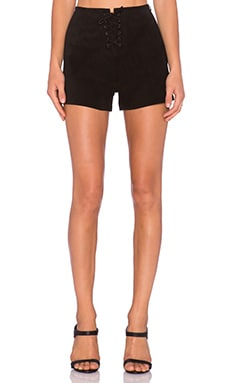 AG Adriano Goldschmied x Alexa Chung The Mabel Short in Suede Super Black