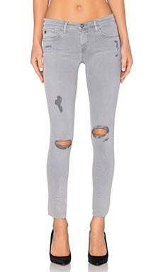 AG Adriano Goldschmied Legging Ankle in Sun Faded Distressed Dusty Blue