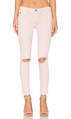 AG Adriano Goldschmied Legging Ankle in Sun Faded Distressed Dusty Rose