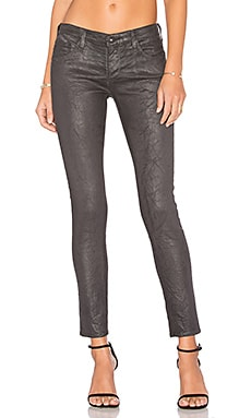 Legging Ankle in Deep Slate Crackle Leatherette