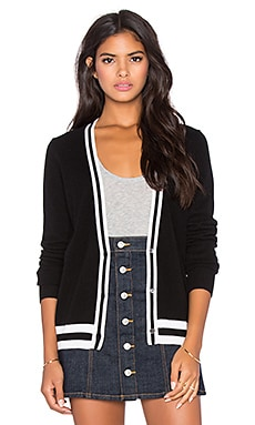 AG Adriano Goldschmied Finn Cardigan in Rib Stripe True Black