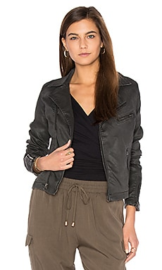Biker Jacket in Vintage Leatherette Black