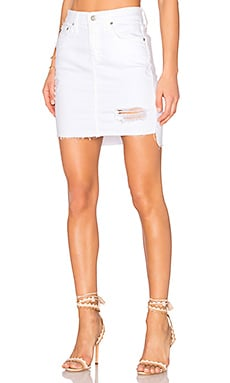 Erin Denim Skirt in White Intuition