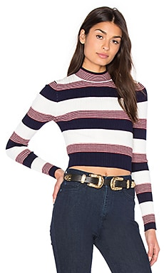 AGAIN Winona Cropped Sweater in Navy