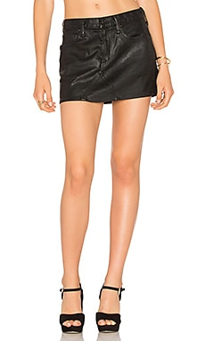 AGOLDE Jeanette Mini Skirt in Coated Black