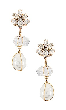 Quartz and Pearl Pendant Earring Anton Heunis $125