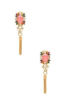 Crystal Cluster With Tassel Earrings