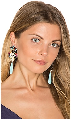 Crystal Drop Earring en Turquoise & Rainbow Multi