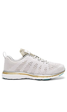 Athletic Propulsion Labs: APL Techloom Pro Sneakers in Silver, Gold, & Melange