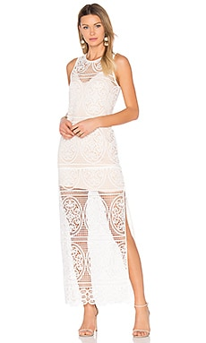 Blackjack Embroidered Column Maxi Dress en Blanc