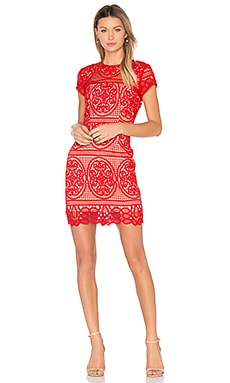 Blackjack Embroidered Mini Dress in Scarlet Red