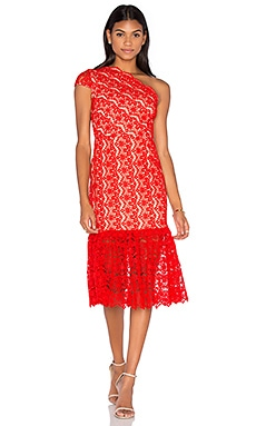 aijek Camelot Embroidered Toga Dress in Scarlet
