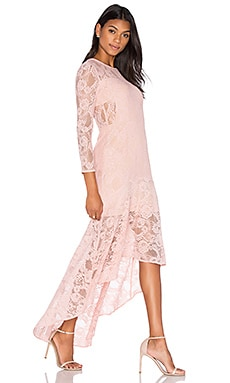aijek Galella Lace Asymmetric Maxi Dress in Dusty Pink