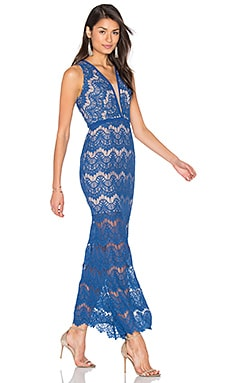 aijek Loyola Lace Maxi Dress in Moroccan Blue