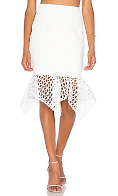 Doubleday Embroidered Handkerchief Skirt en Blanc