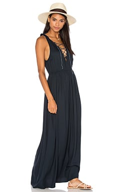 Edge Lace Up Maxi Dress in Indigo