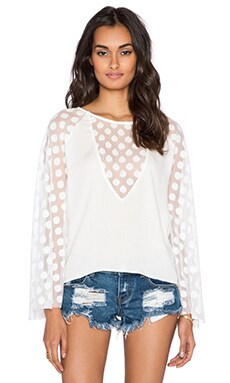 Aila Blue Plumeria Blouse in White Polka Dot Mesh