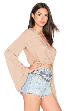 Palm Crop Top in Mocha