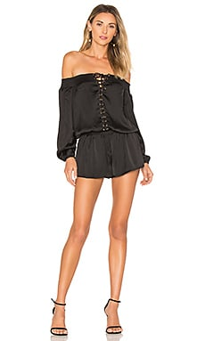 Portia Off The Shoulder Playsuit in Black