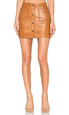 Shrimpton Leather Mini Skirt in Tan