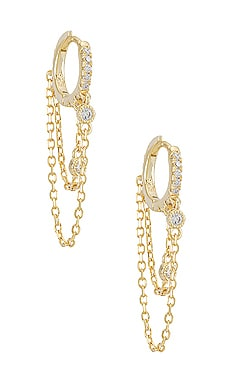 Bezel Chain Huggie Earring Adina's Jewels $58 BEST SELLER