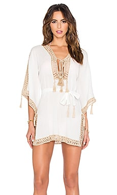 Anna Kosturova Sheika Tunic Dress in White & Taupe