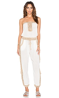 Giza Jumpsuit in White & Taupe