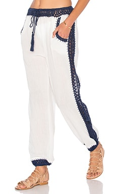 Giza Harem Pant in White & Navy