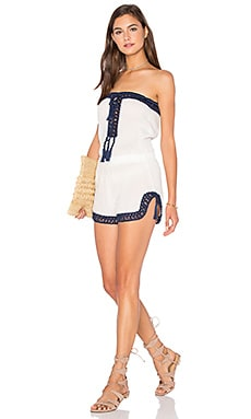 Helena Romper in White & Navy