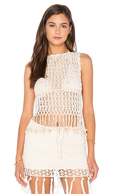 Anna Kosturova Gypsy Top With Shells in Cream