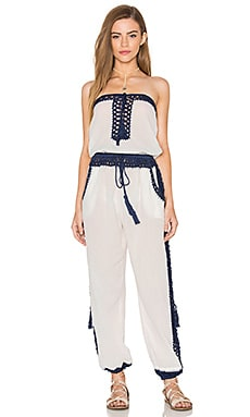 Anna Kosturova Giza Jumpsuit in White & Navy