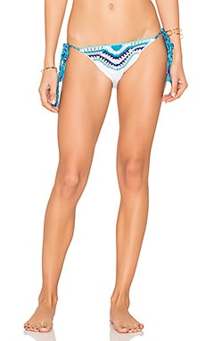 Amalfi Bikini Bottom in White & Light Turq