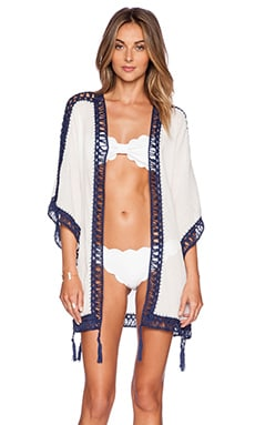 Anna Kosturova Sheika Kimono in White with Contrast Trim