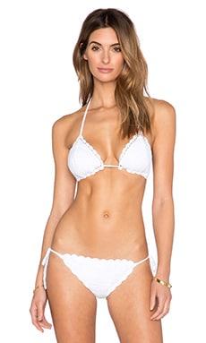Anna Kosturova Sliding Triangle Bikini Top in White