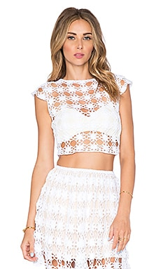 Anna Kosturova Bella Short Sleeve Crop Top in White