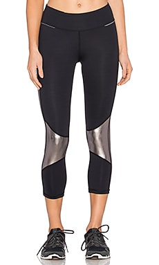 ALALA Blocked Crop Tight Legging in Black & Pewter