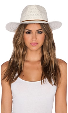 ale by alessandra Leather n Lace Hat in White