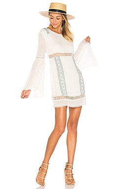 Luana Long Sleeve Dress in Ivory & Stone Blue