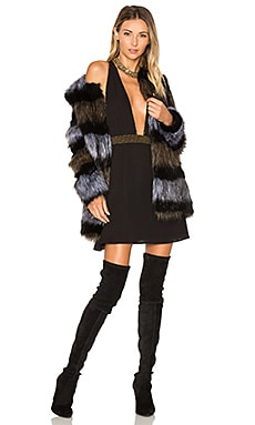 x REVOLVE Antonella Faux Fur Coat en Black & Brown