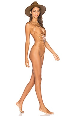 Maldives Embroidered Monokini en Copper
